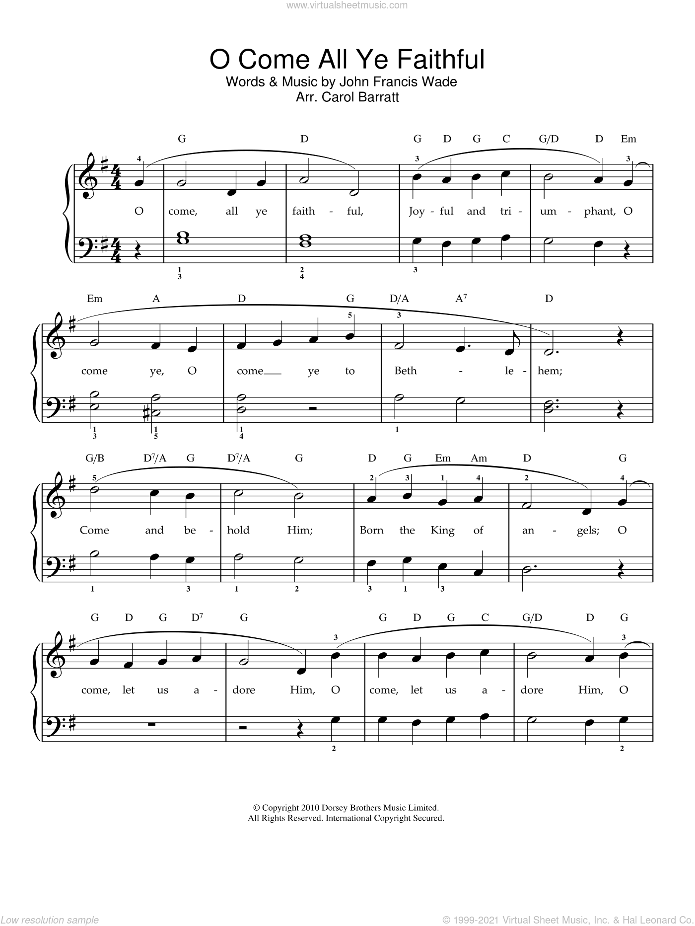 O Come, All Ye Faithful (Adeste Fideles) sheet music for voice and piano by John Francis Wade, intermediate. Score Image Preview.