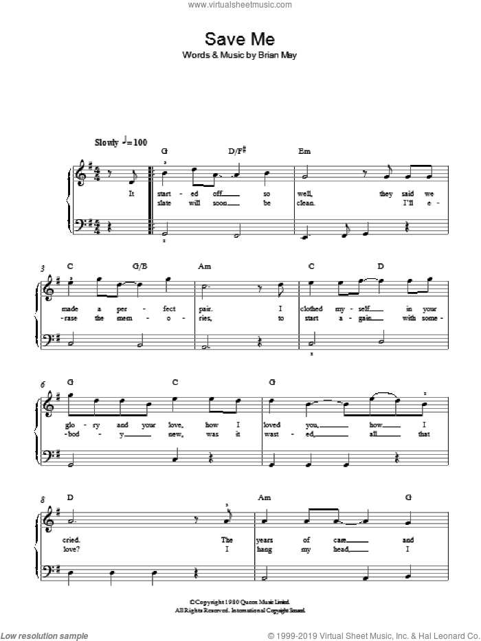 Save Me sheet music for piano solo by Brian May and Queen. Score Image Preview.