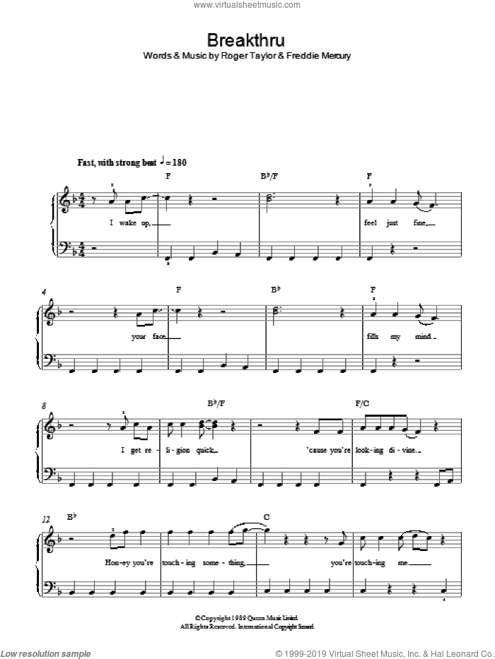 Breakthru sheet music for piano solo by Queen, Freddie Mercury and Roger Taylor, easy. Score Image Preview.