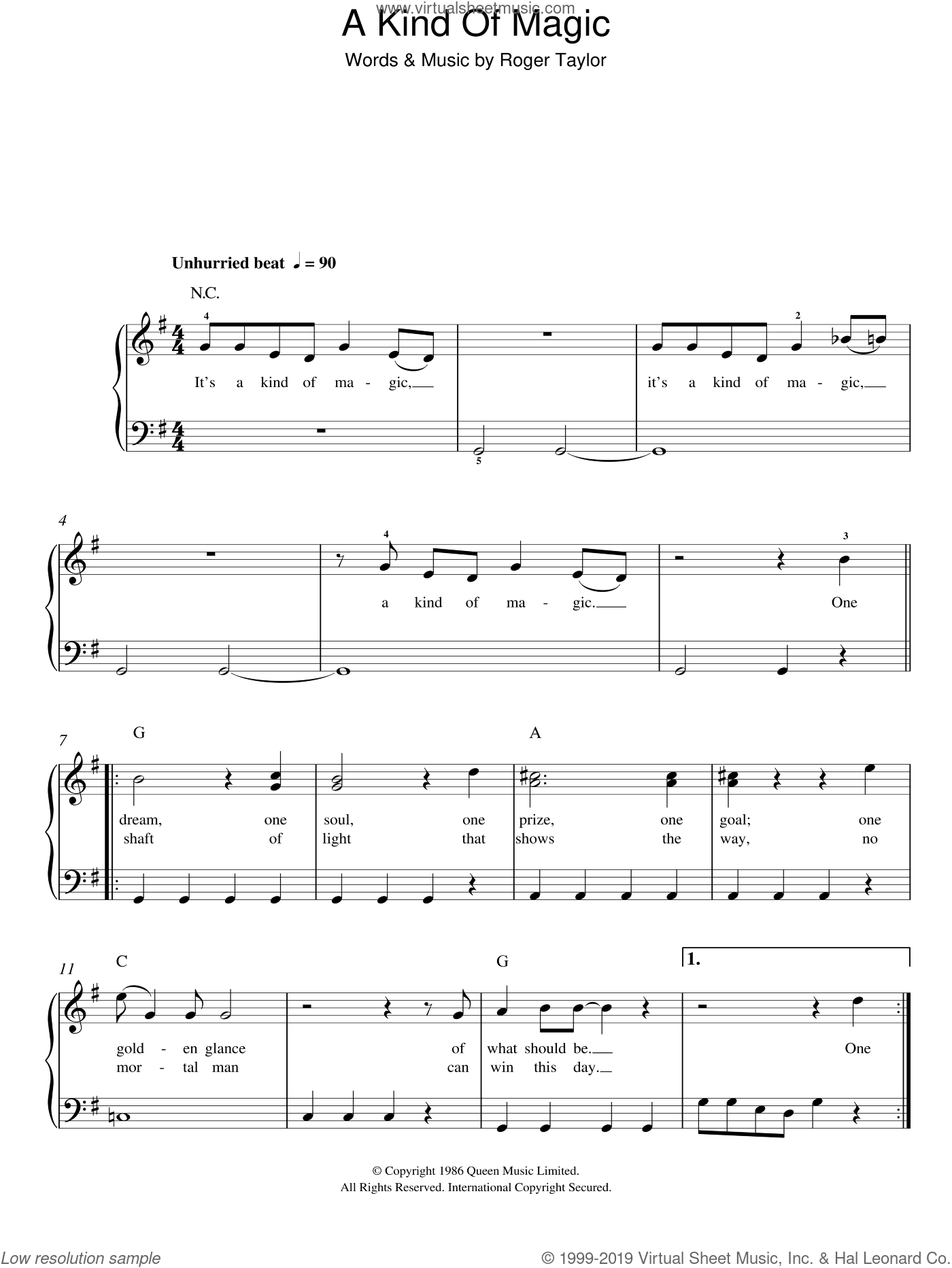 A Kind Of Magic sheet music for piano solo by Queen and Roger Taylor, easy skill level