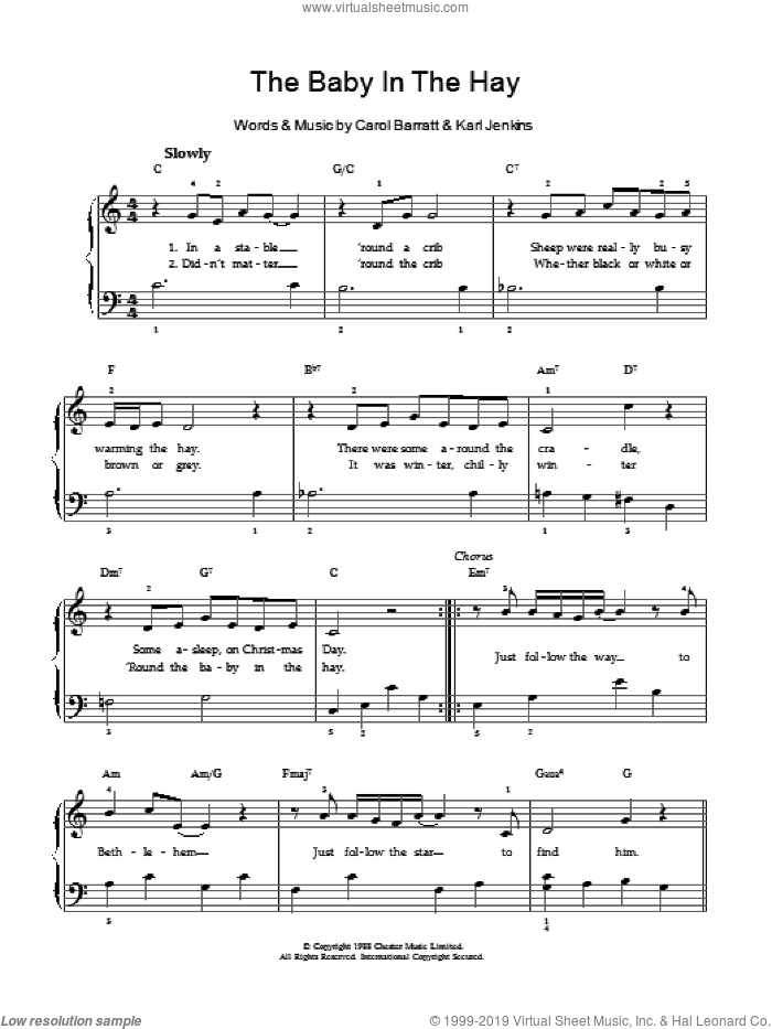 The Baby In The Hay sheet music for voice and piano by Karl Jenkins