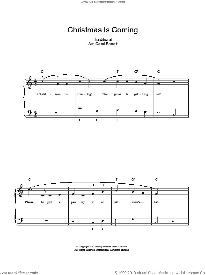Christmas Is Coming sheet music for voice and piano, intermediate. Score Image Preview.