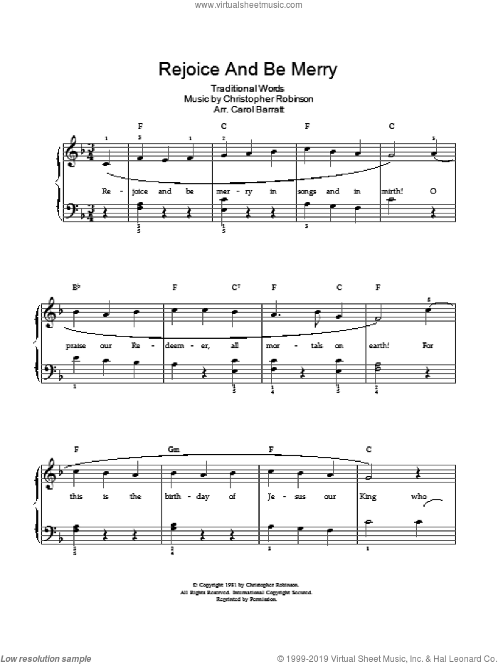 Rejoice And Be Merry sheet music for voice and piano