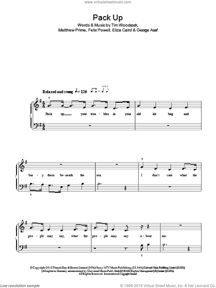 Pack Up sheet music for piano solo by Eliza Doolittle, Eliza Caird, Felix Powell, George Asaf, Matthew Prime and Tim Woodcock, easy skill level
