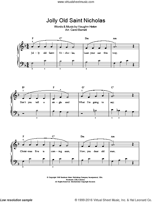 Jolly Old Saint Nicholas sheet music for voice and piano by Anonymous