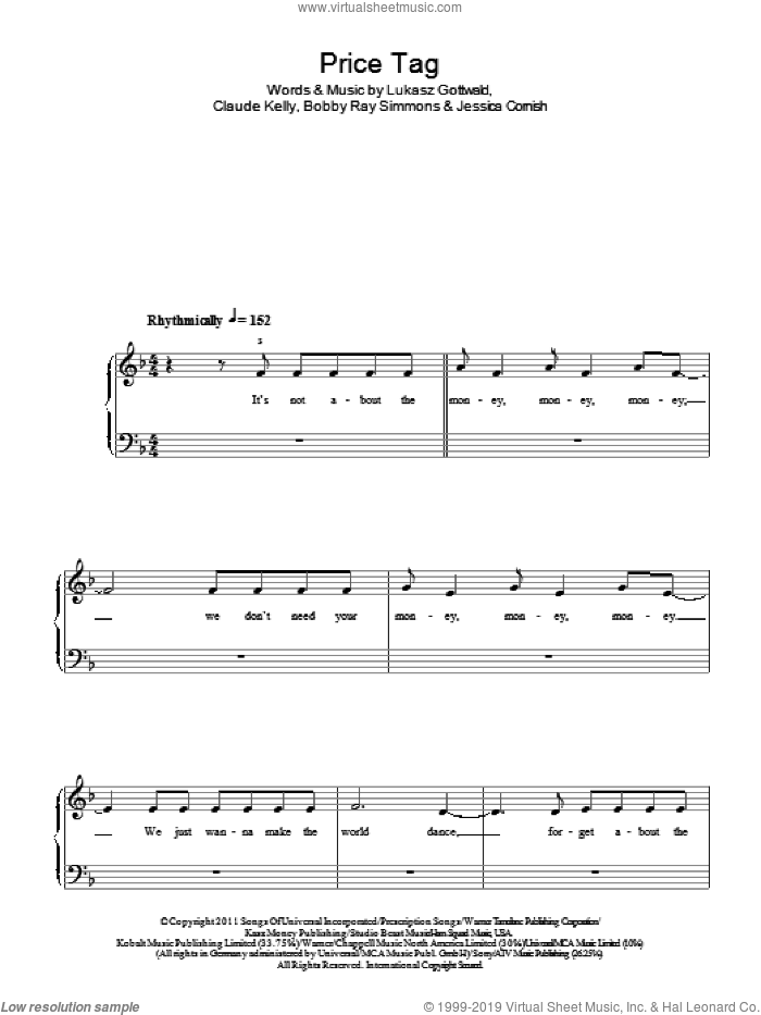 Price Tag sheet music for piano solo by Lukasz Gottwald, B.o.B., Bobby Ray Simmons, Claude Kelly and Jessica Cornish, easy piano. Score Image Preview.