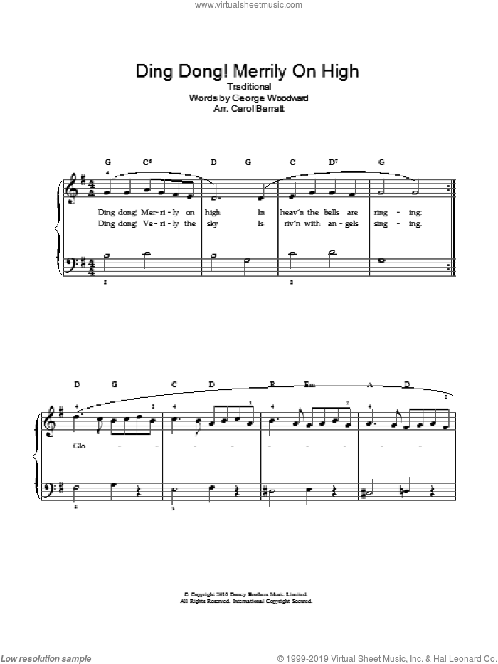 Ding Dong! Merrily On High! sheet music for voice and piano by George Woodward