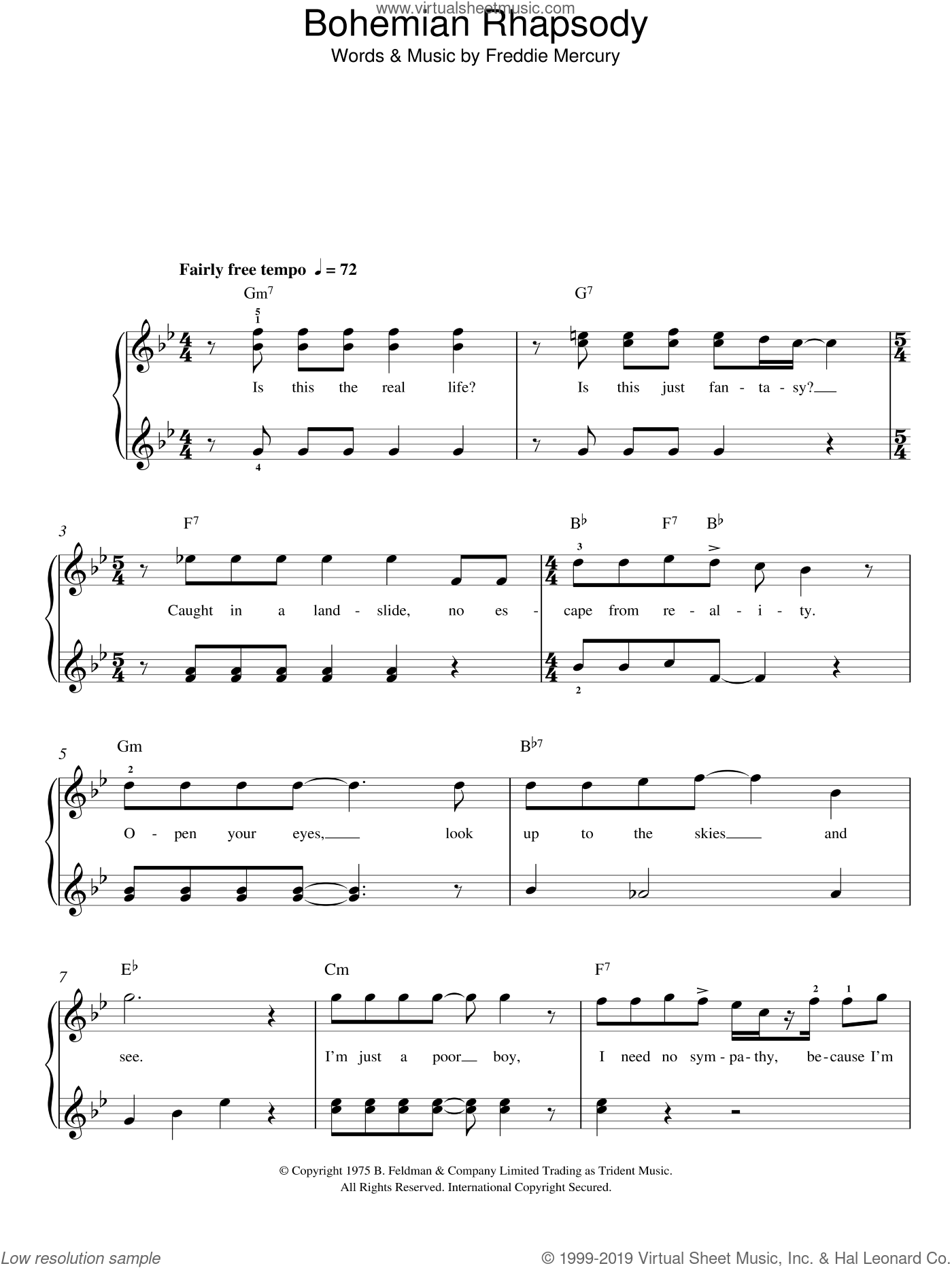 Bohemian Rhapsody sheet music for piano solo by Freddie Mercury and Queen. Score Image Preview.