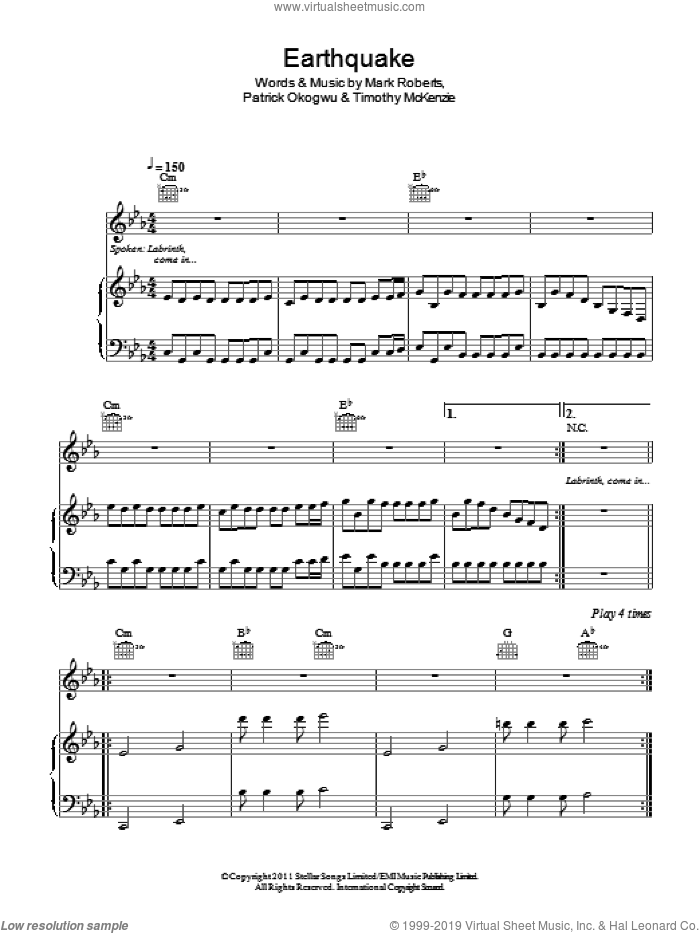 Earthquake sheet music for voice, piano or guitar by Timothy McKenzie, Mark Roberts and Patrick Okogwu. Score Image Preview.