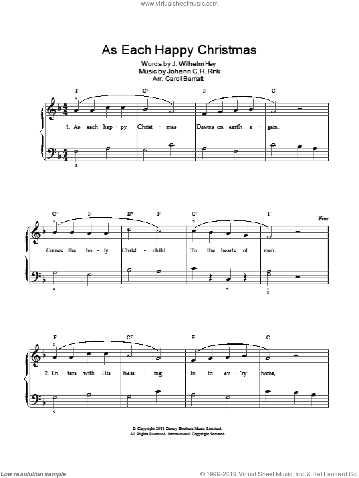 As Each Happy Christmas sheet music for voice and piano. Score Image Preview.