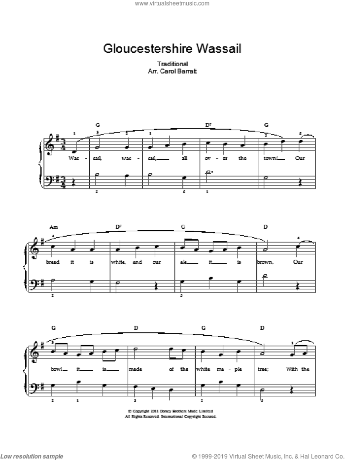 Gloucestershire Wassail sheet music for voice and piano. Score Image Preview.