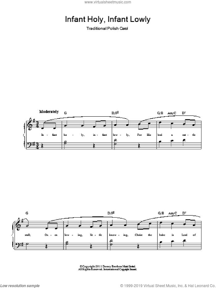 Infant Holy, Infant Lowly sheet music for piano solo. Score Image Preview.