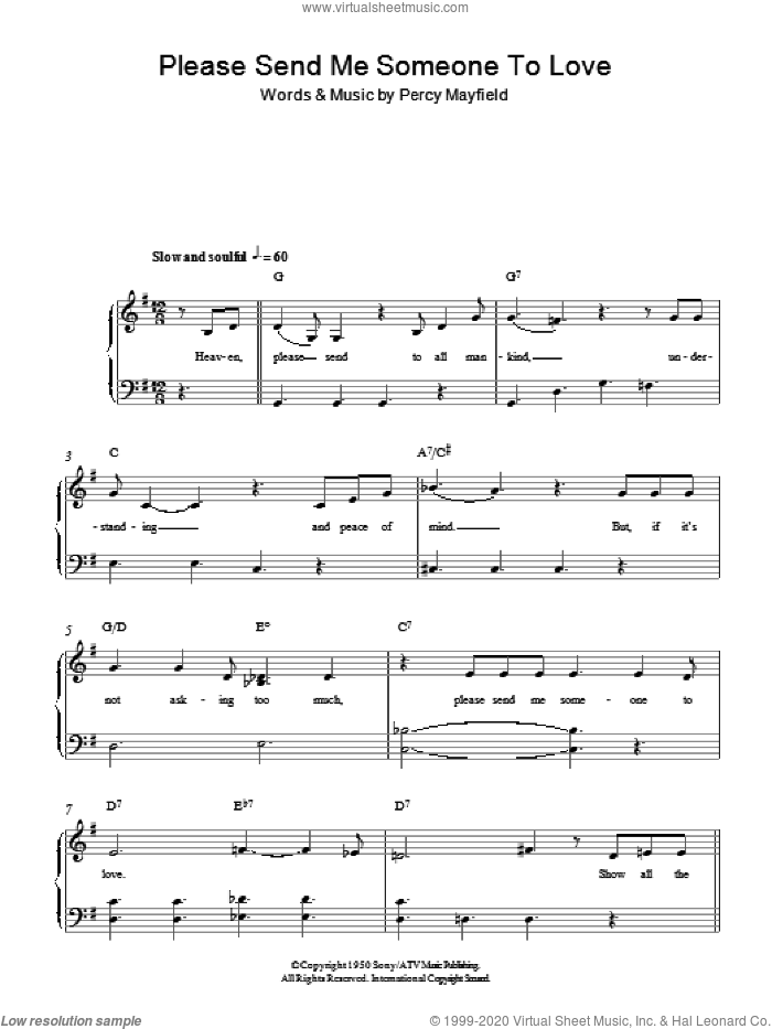 Please Send Me Someone To Love, (easy) sheet music for piano solo by Percy Mayfield, easy skill level