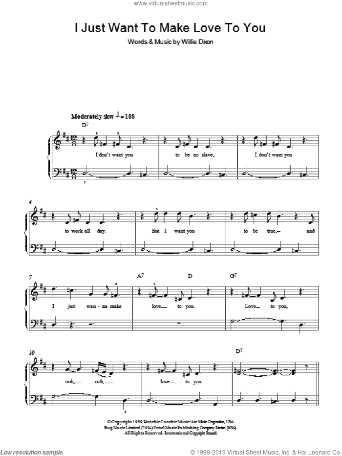 I Just Want To Make Love To You sheet music for piano solo (chords) by Willie Dixon