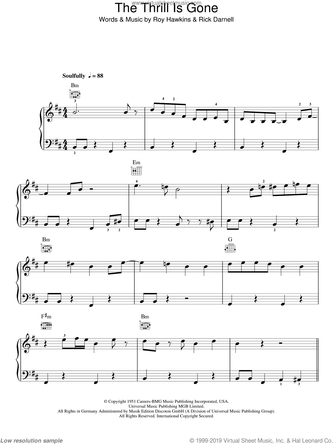 The Thrill Is Gone sheet music for piano solo (chords) by Roy Hawkins
