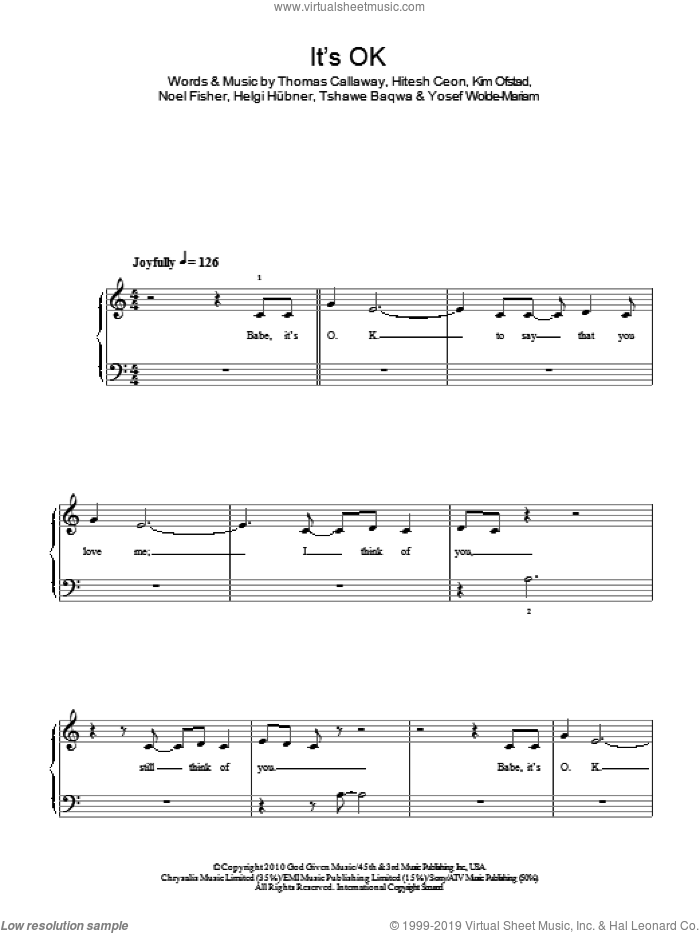 It's OK sheet music for piano solo by Yosef Wolde-Mariam