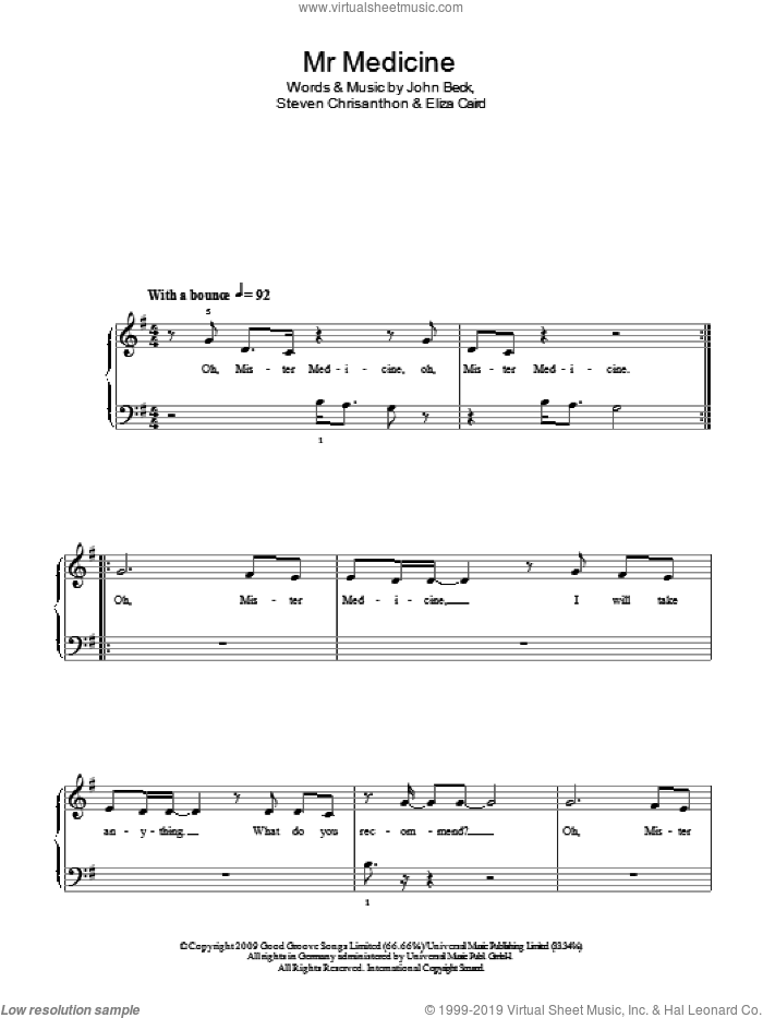 Mr Medicine sheet music for piano solo by Steven Chrisanthon and John Beck. Score Image Preview.