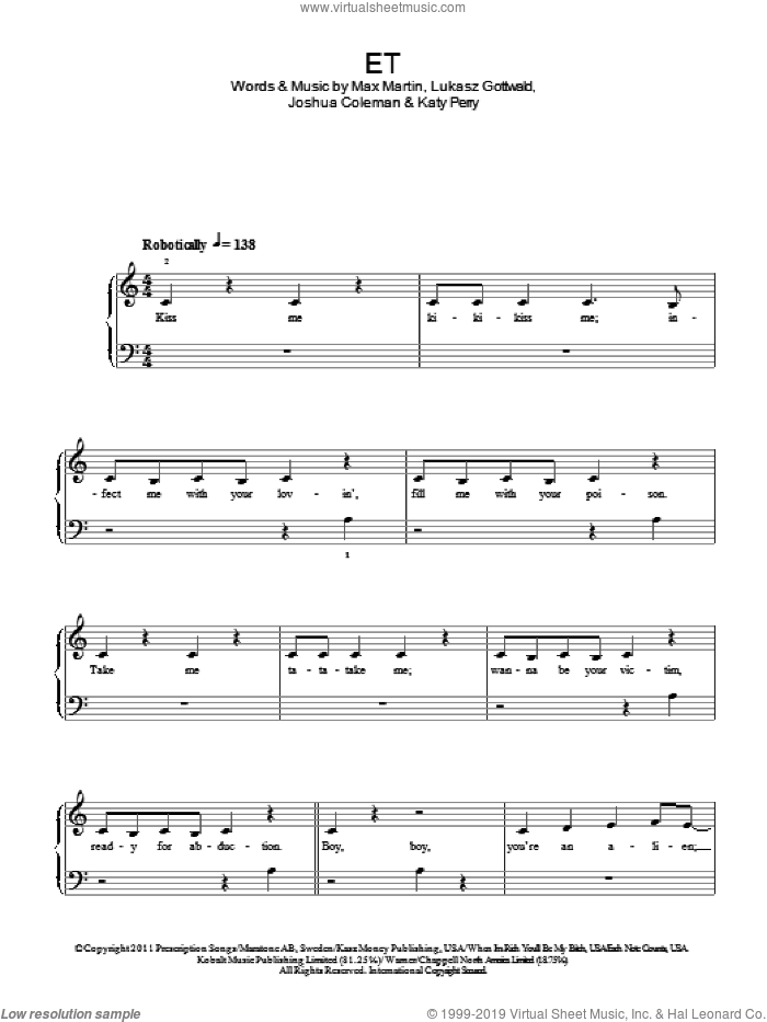 E.T. sheet music for piano solo by Max Martin, Katy Perry, Joshua Coleman and Lukasz Gottwald. Score Image Preview.