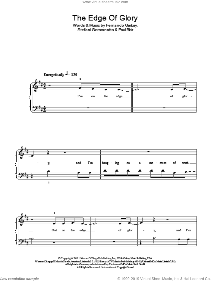 The Edge Of Glory sheet music for piano solo by Lady Gaga, Fernando Garibay and Paul Blair, easy piano. Score Image Preview.