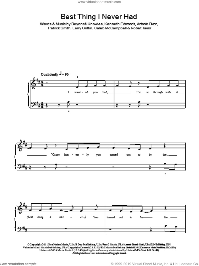 Best Thing I Never Had sheet music for piano solo by Robert Shea Taylor, Beyonce, Antonio Dixon, Kenneth Edmonds and Patrick Smith. Score Image Preview.