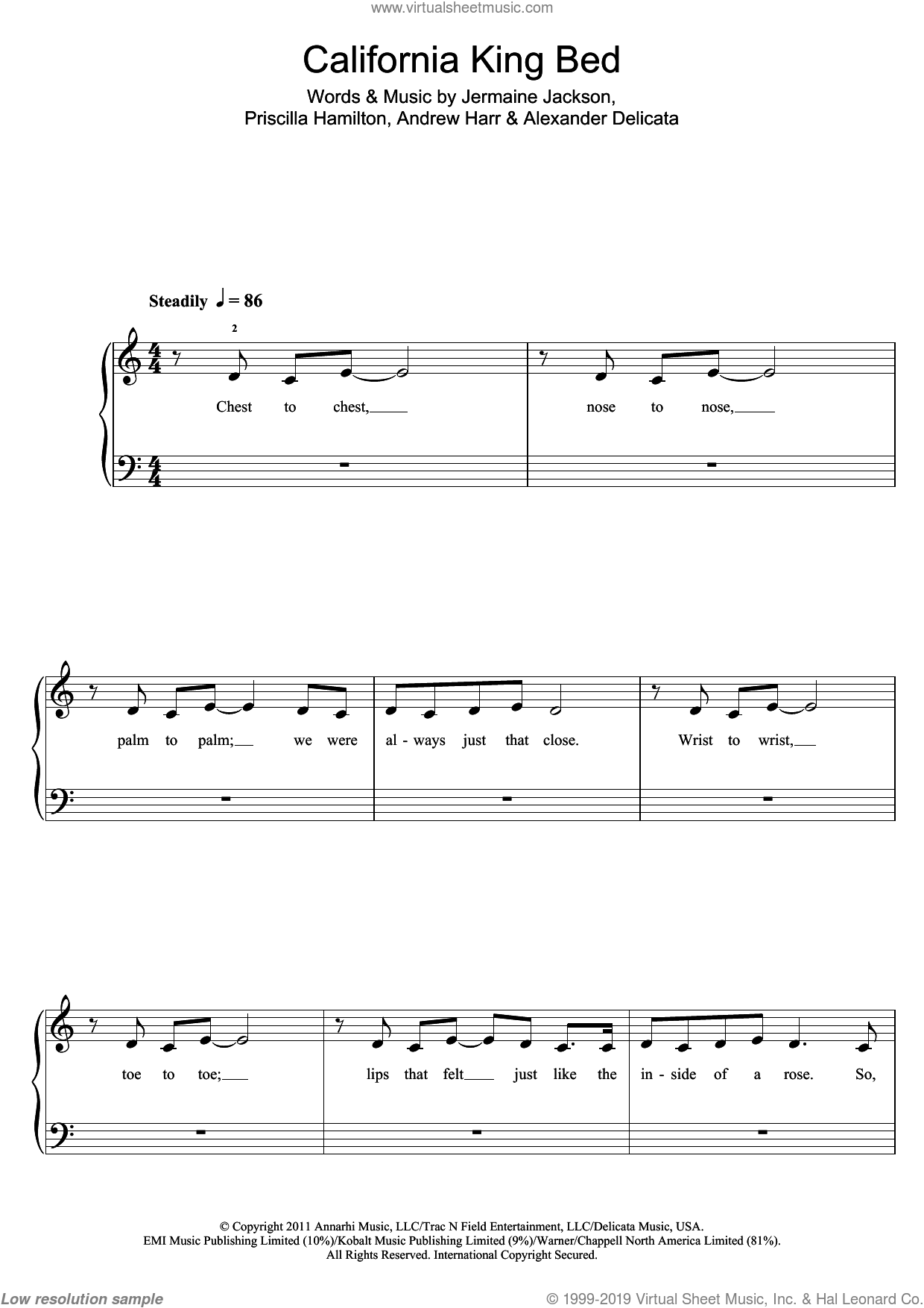 California King Bed sheet music for piano solo by Priscilla Hamilton, Rihanna, Andrew Harr and Jermaine Jackson. Score Image Preview.