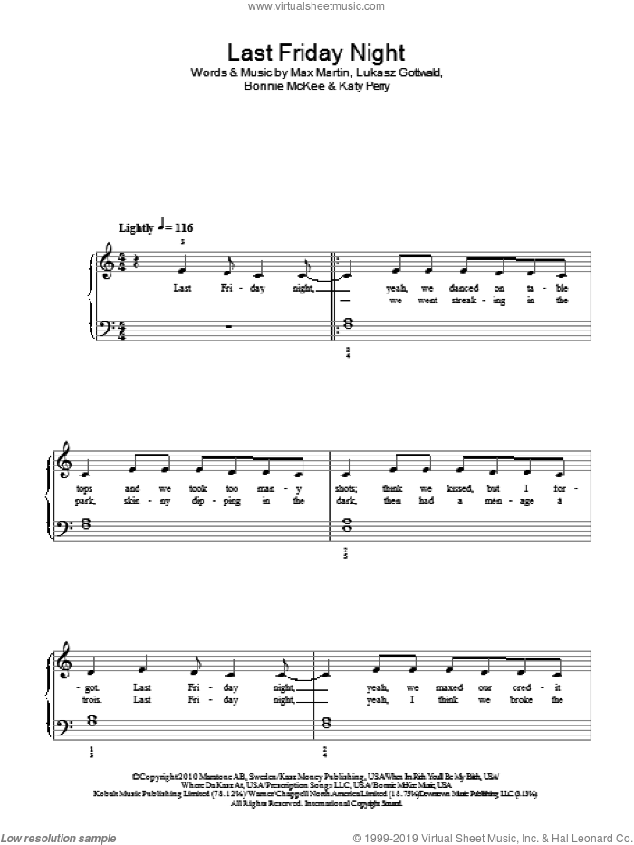 Katy Perry Last Friday Night Chords Piano « Heritage Malta