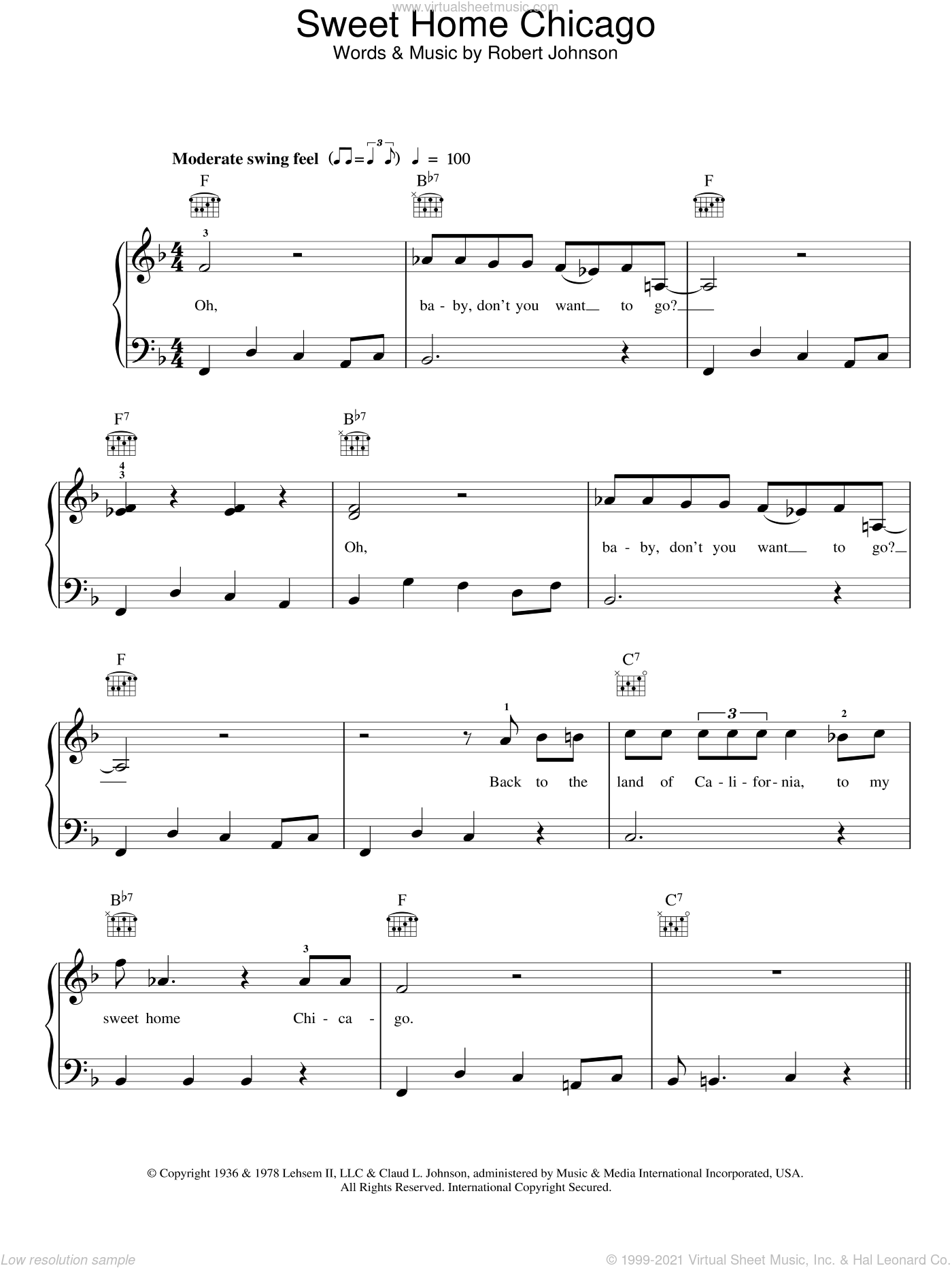 Sweet Home Chicago sheet music for piano solo by Robert Johnson
