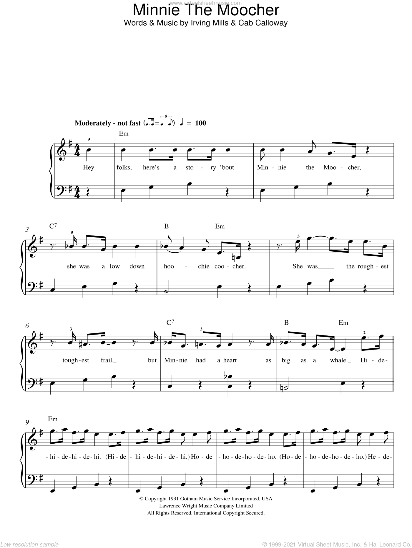 Minnie The Moocher sheet music for piano solo (chords) by Irving Mills