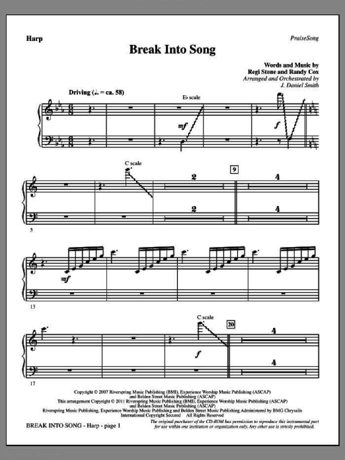 Break Into Song sheet music for orchestra/band (harp) by Randy Cox