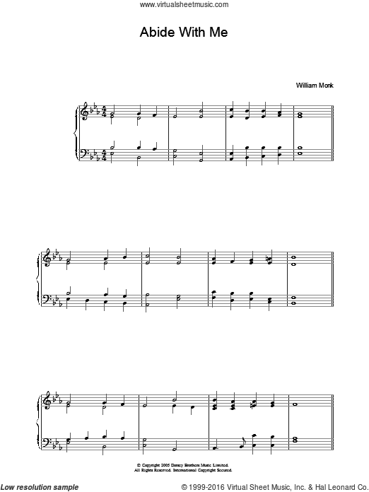 Abide With Me sheet music for piano solo by William Henry Monk