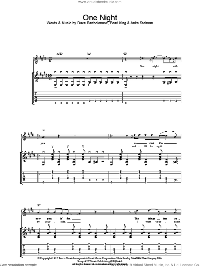One Night sheet music for guitar (tablature) by Elvis Presley, Anita Steiman, Dave Bartholomew and Pearl King, intermediate