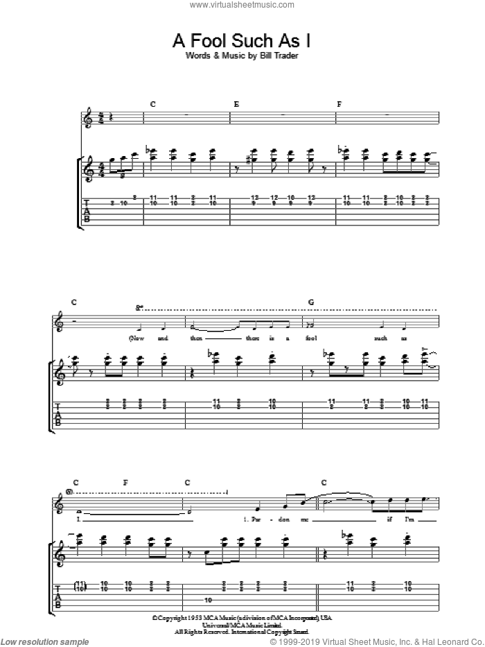 (Now And Then There's) A Fool Such As I sheet music for guitar (tablature) by Elvis Presley and Bill Trader, intermediate. Score Image Preview.