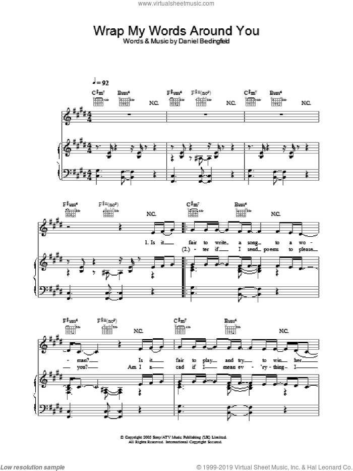 Wrap My Words Around You sheet music for voice, piano or guitar by Daniel Bedingfield, intermediate. Score Image Preview.