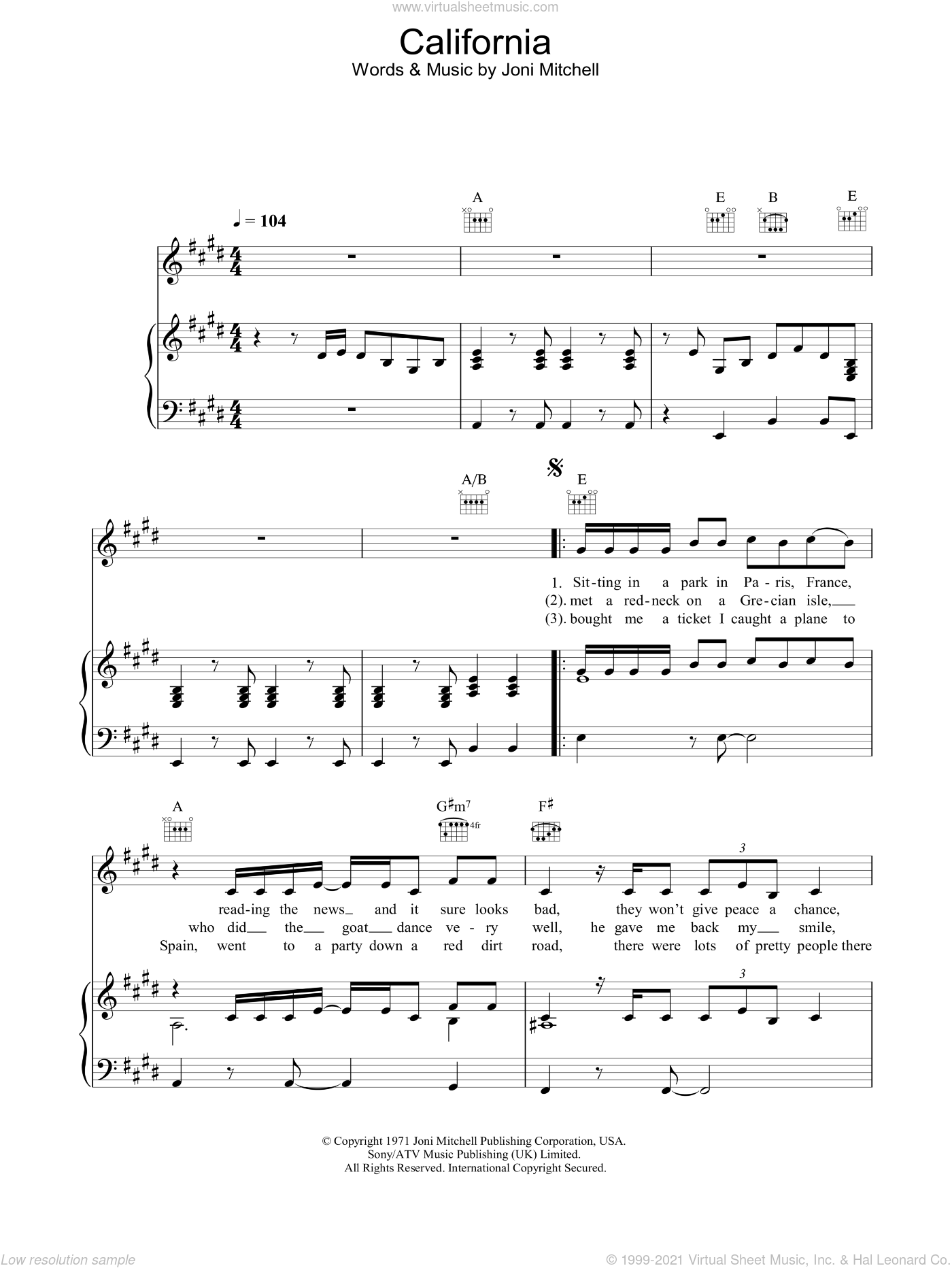 California sheet music for voice, piano or guitar by Joni Mitchell, intermediate skill level