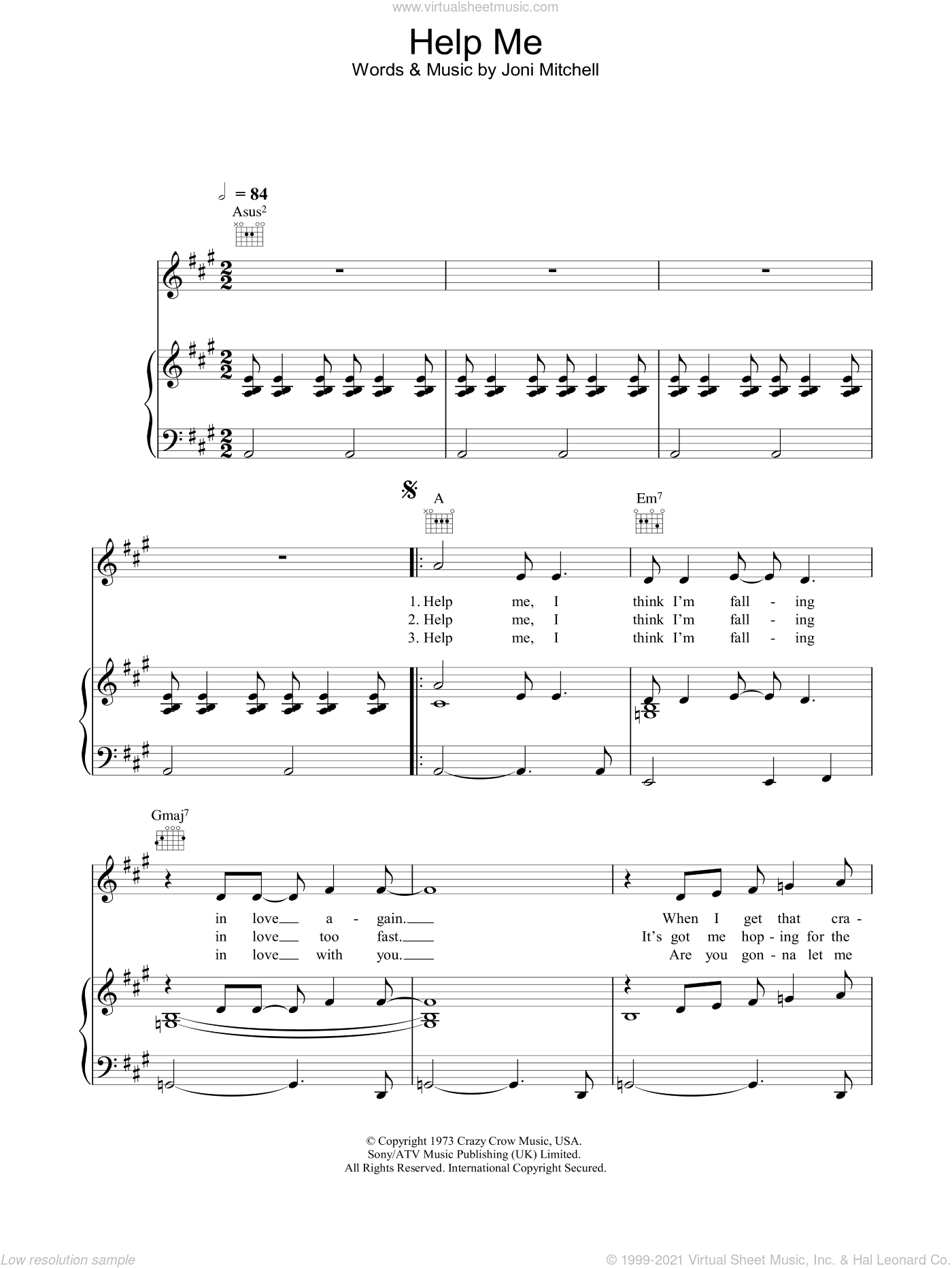 Help Me sheet music for voice, piano or guitar by Joni Mitchell. Score Image Preview.