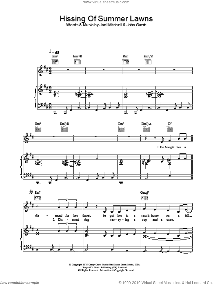The Hissing Of Summer Lawns sheet music for voice, piano or guitar by Joni Mitchell and John Guerin, intermediate skill level