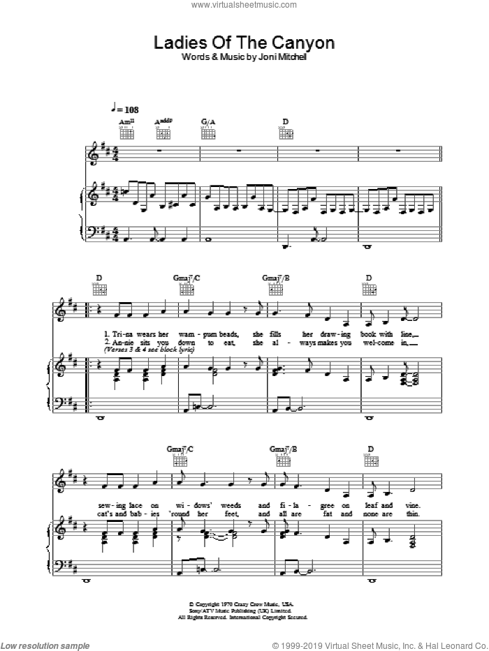 Ladies Of The Canyon sheet music for voice, piano or guitar by Joni Mitchell. Score Image Preview.
