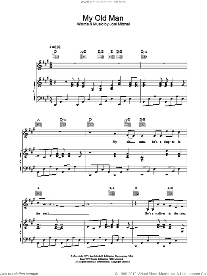 My Old Man sheet music for voice, piano or guitar by Joni Mitchell. Score Image Preview.
