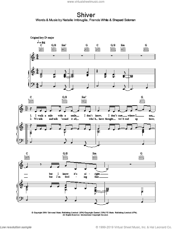 Shiver sheet music for voice, piano or guitar by Natalie Imbruglia, intermediate voice, piano or guitar. Score Image Preview.