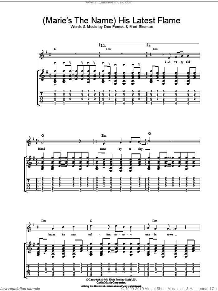 His Latest Flame sheet music for guitar (tablature) by Elvis Presley, Doc Pomus and Mort Shuman, intermediate guitar (tablature). Score Image Preview.