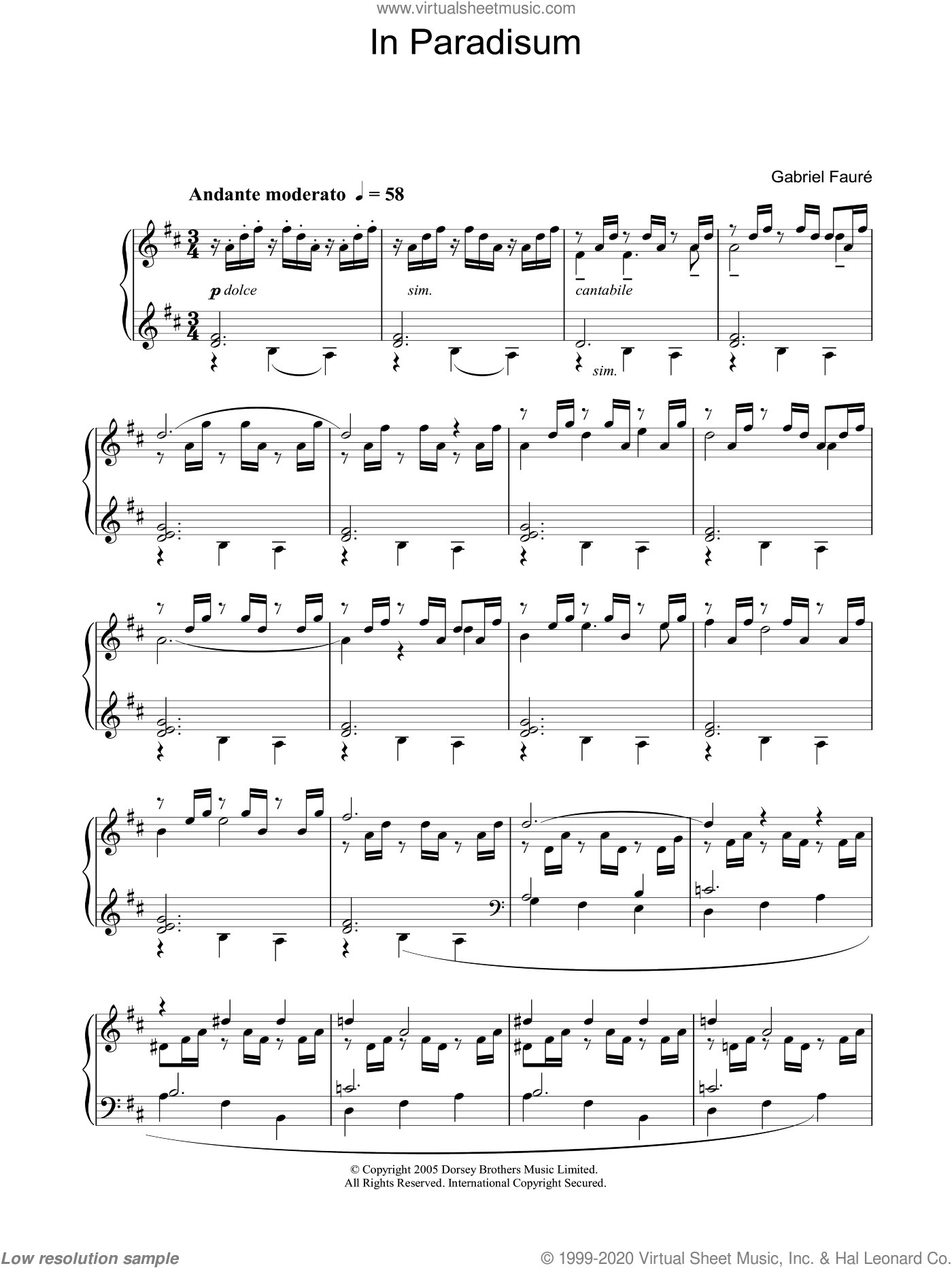 In Paradisum from 'Requiem' sheet music for piano solo by Gabriel Faure, classical score, intermediate piano. Score Image Preview.