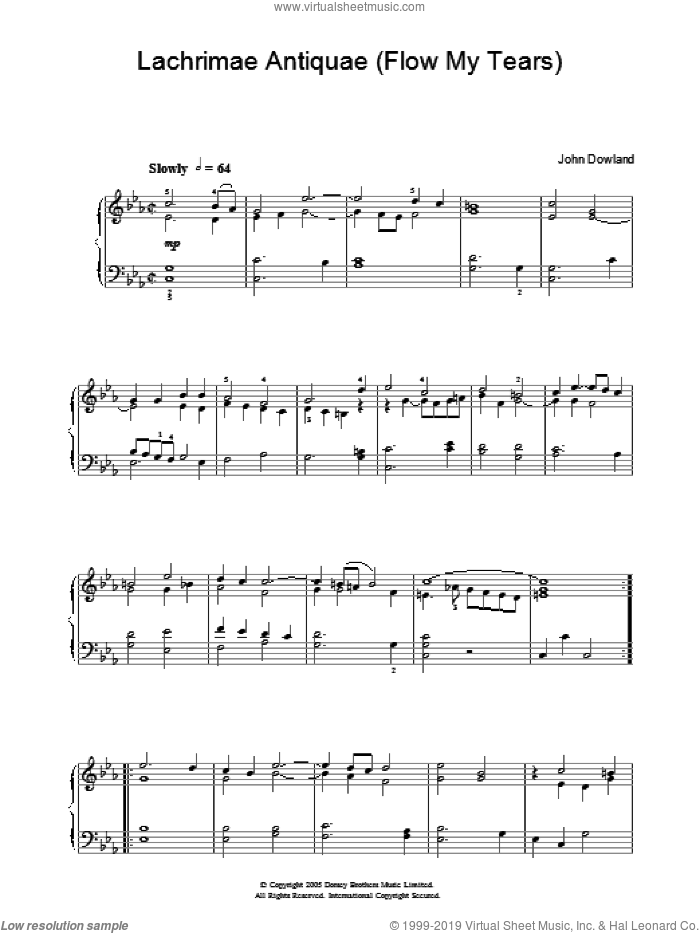 Lachrimae Antiquae (Flow My Tears) sheet music for piano solo by John Dowland and John Downland, intermediate