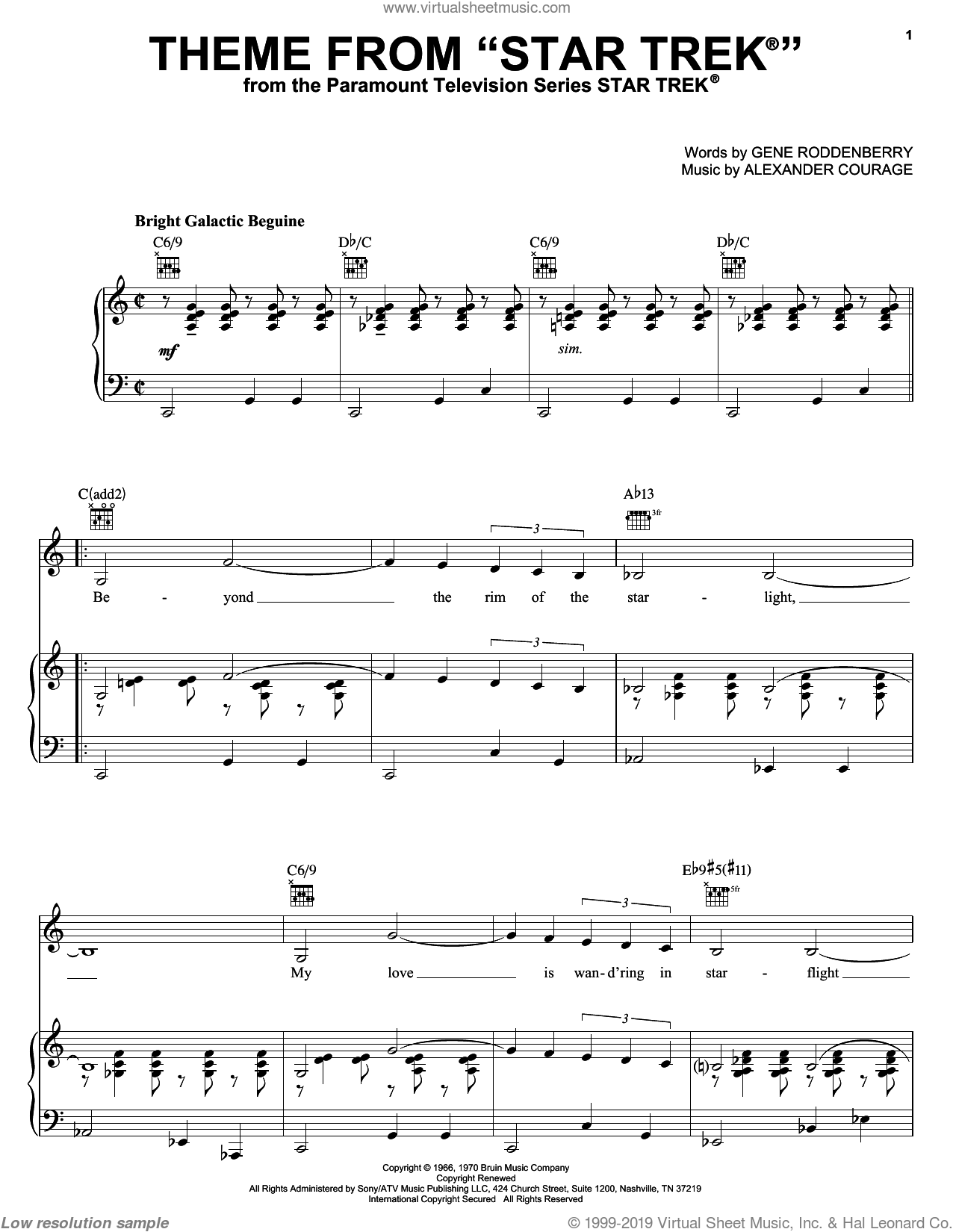 Theme from Star Trek(R) sheet music for voice, piano or guitar by Gene Roddenberry and Alexander Courage. Score Image Preview.