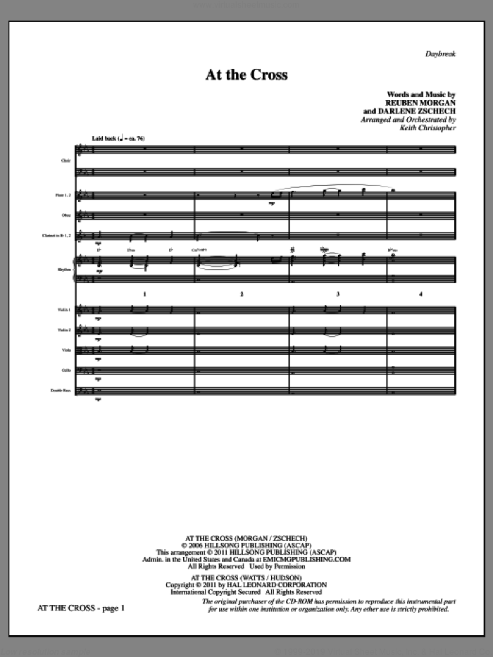 At The Cross (complete set of parts) sheet music for orchestra/band (Orchestra) by Reuben Morgan, Isaac Watts, Ralph Hudson, Darlene Zschech and Keith Christopher, intermediate skill level