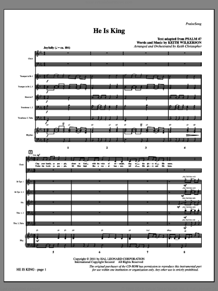 He Is King (complete set of parts) sheet music for orchestra/band by Keith Wilkerson, intermediate. Score Image Preview.