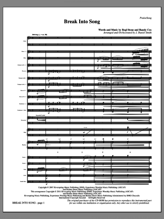 Break Into Song (complete set of parts) sheet music for orchestra/band (Orchestra) by Regi Stone, Randy Cox and J. Daniel Smith, intermediate. Score Image Preview.
