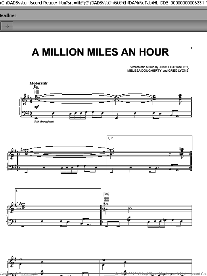 A Million Miles An Hour sheet music for voice, piano or guitar by Melissa Dougherty. Score Image Preview.