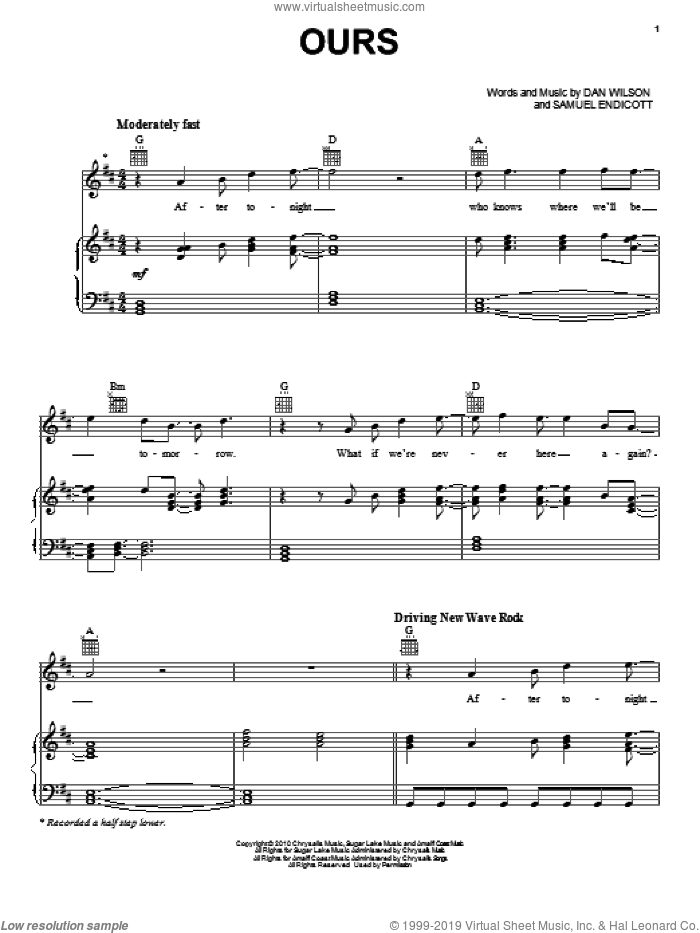 Ours sheet music for voice, piano or guitar by Samuel Endicott and Dan Wilson. Score Image Preview.