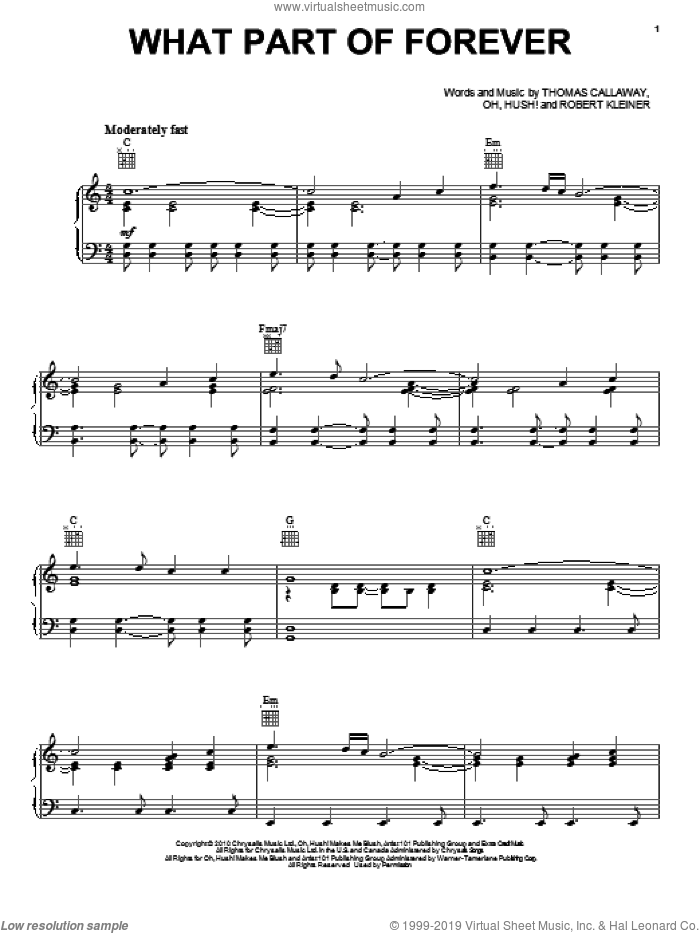 What Part Of Forever sheet music for voice, piano or guitar by Thomas Callaway and Cee Lo Green. Score Image Preview.