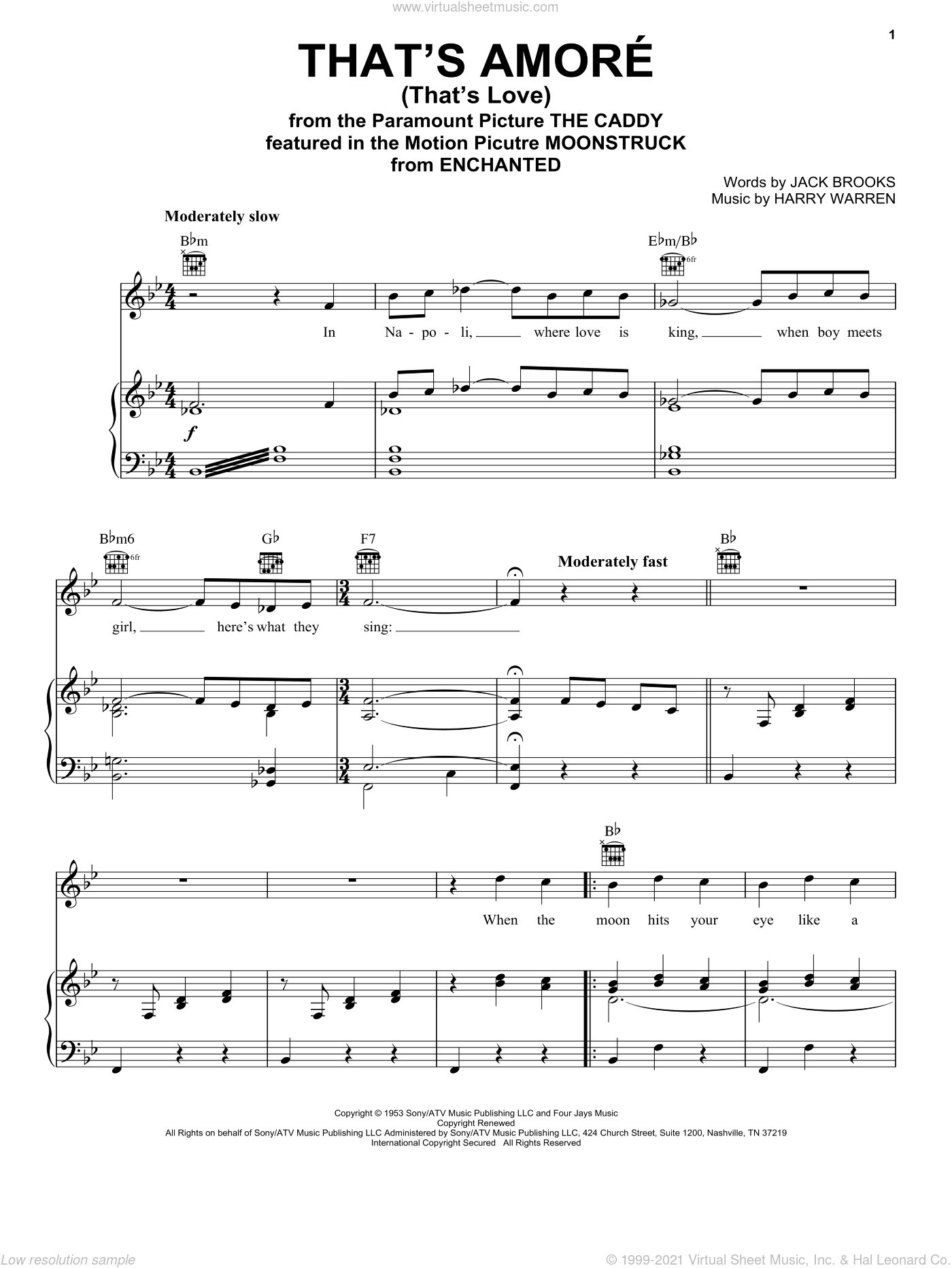 That's Amore (That's Love) sheet music for voice, piano or guitar by Dean Martin, Enchanted (Movie), Harry Warren and Jack Brooks, wedding score, intermediate skill level
